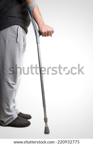First steps without wheelchair. - stock photo