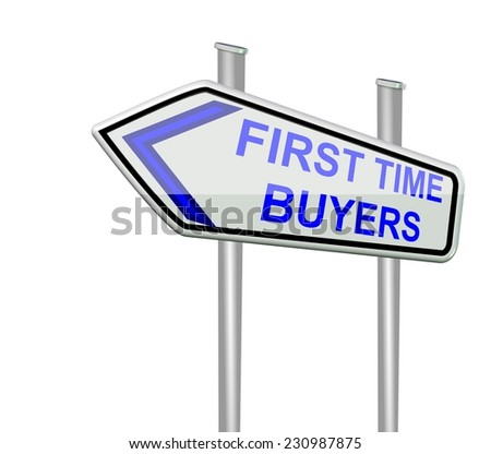 first time buyers - isolated road sign - stock photo