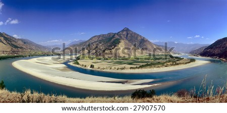 First turn of yangtse river, yunnan,china - stock photo