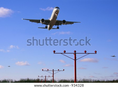 First wave of flights arriving - stock photo