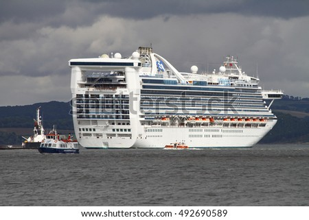 FIRTH OF FORTH, SCOTLAND - SEPTEMBER 2 2016: Princess Cruise Ship, Caribbean Princess, near North Queensferry