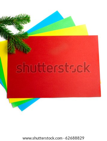 Firtree isolated and color paper on white
