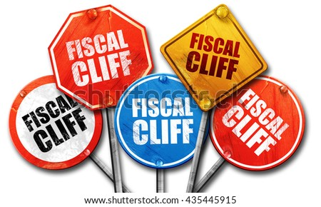 fiscal cliff, 3D rendering, street signs - stock photo