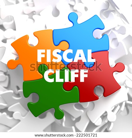 Fiscal Cliff on Multicolor Puzzle on White Background. - stock photo