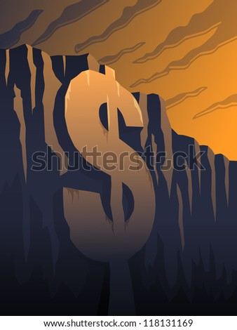 Fiscal Cliff - raster - stock photo