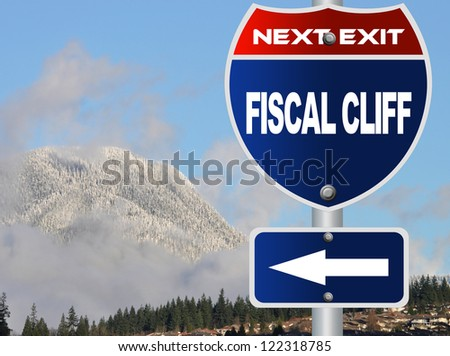 Fiscal cliff road sign - stock photo