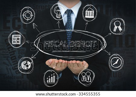 Fiscal deficit concept image with business icons. - stock photo
