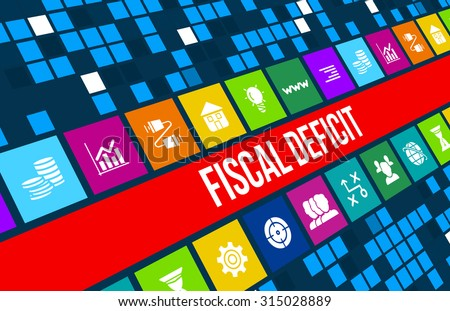 Fiscal deficit concept image with business icons and copyspace. - stock photo