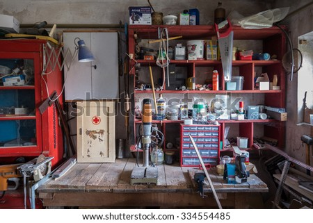 FISCHBACH, GERMANY - May 01 2015: Messy abandoned workshop