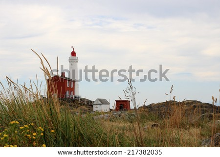 Fisgard Lighthouse National Historic Site of Canada in Victoria, British Columbia, Canada - stock photo