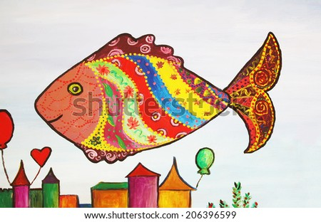 Fish. Acrylic illustration.  - stock photo