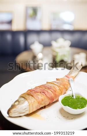 fish and bacon - stock photo