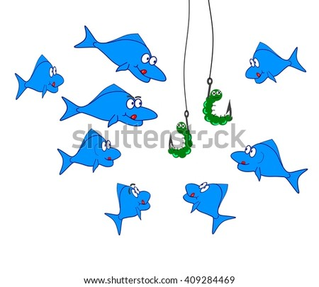 Fish and bait - stock photo