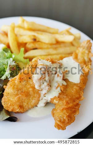 fish and chips, deep fried crispy meal