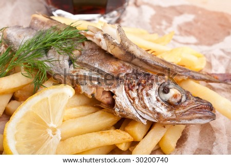 fish and chips in a piece of brown craft paper and beer - stock photo