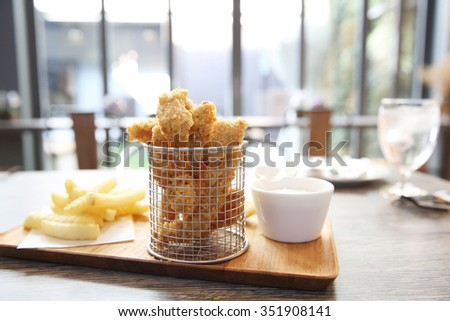Fish and chips in close up - stock photo