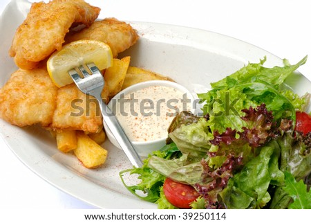 Fish and chips isolated on a white plate - stock photo