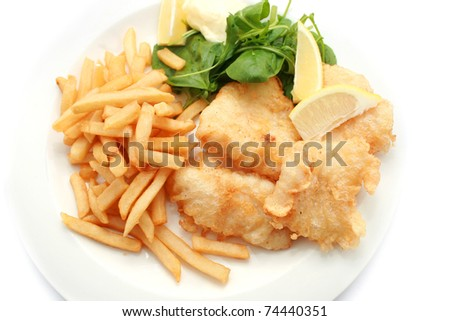 Fish and Chips isolated on white