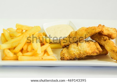 Fish and chips on white background