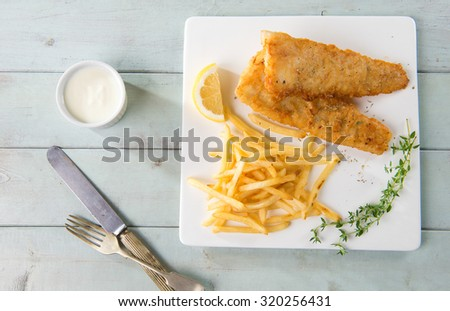 fish and chips shot with background - stock photo