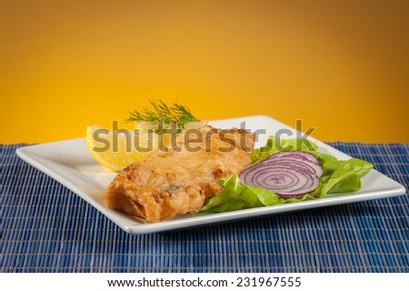 fish and chips with lettuce and onion - stock photo