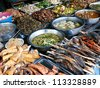 Fish and other Cambodian food at the Kandal Market in Phnom Penh. - stock