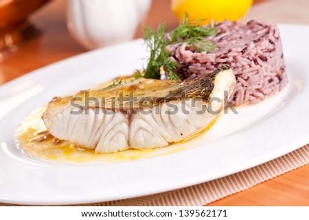 Fish and salad - stock photo