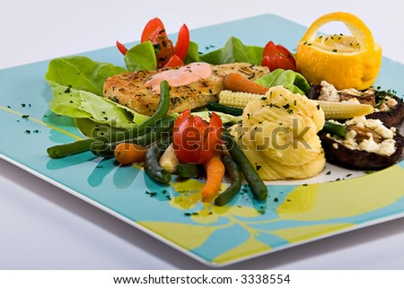 Fish and vegetables platter, food gourmet series