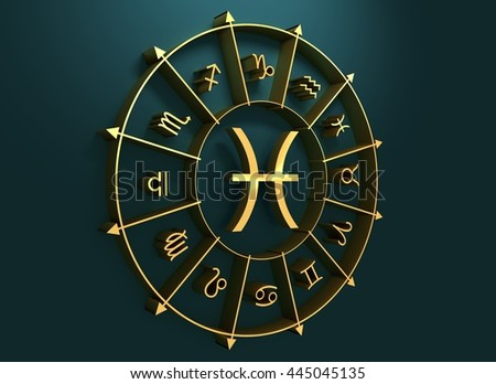 Fish astrology sign. Golden astrological symbol. 3D rendering