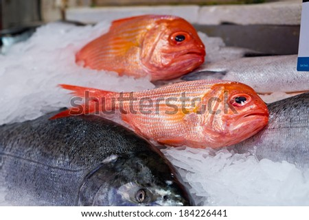 Fish at Pike Place Market in Seattle - stock photo
