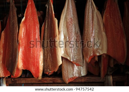 Fish being smoked in traditional manner at Myvatn in northern Iceland - stock photo
