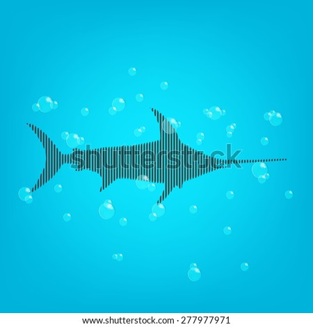 Fish blue background with a bars shark and bubbles. - stock photo