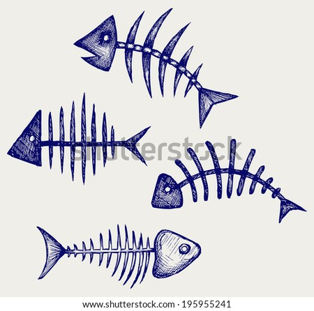 Fish bone. Doodle style. Raster version - stock photo