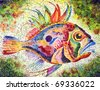 Fish bright stylized with a huge eye and prickly fins drawn on a water color paper water color colors - stock photo
