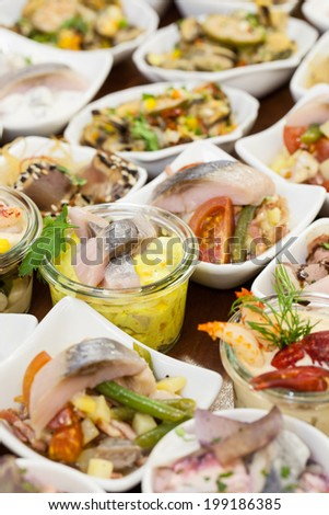 Fish buffet: Different starters - stock photo