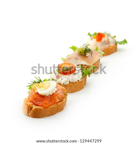 Fish Canapes - stock photo