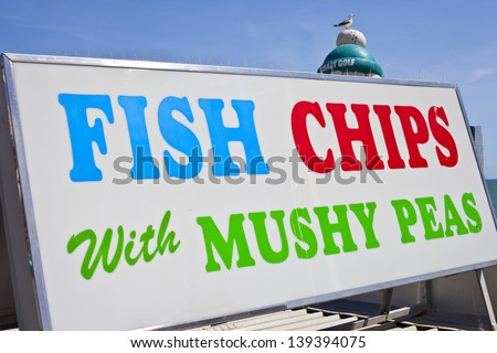 Fish, Chips and Mushy Peas - stock photo