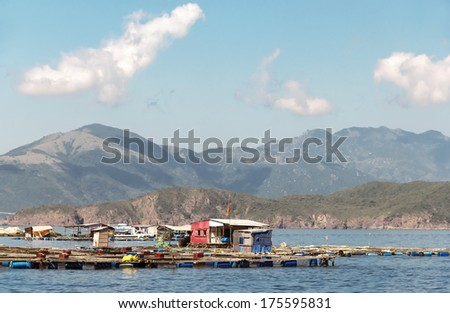 Fish coop farm in Eastern sea, Vietnam
