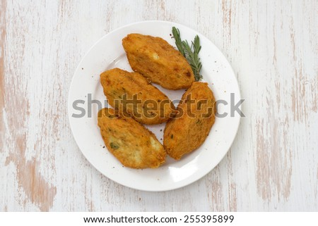 fish croquettes on plate - stock photo