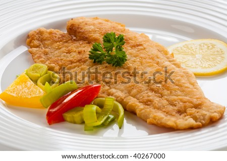 Fish dish - fried cod fillet with vegetables