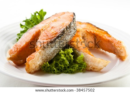 Fish dish - grilled salmon - stock photo