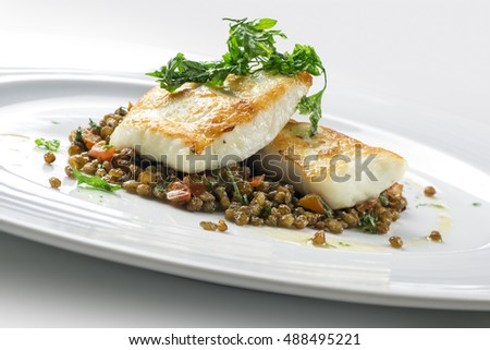 Fish Dish Turbot with crispy lentil Zollino