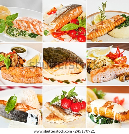 Fish dishes collage including dishes with salmon and dorado