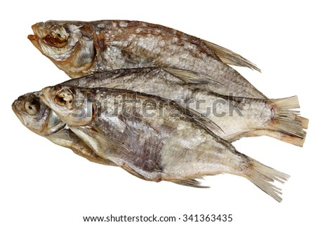 Fish dried ram it is isolated on a white background