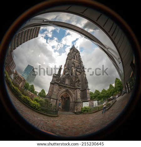 Fish eye capture of the remains of St. Nicholas' Church, Hamburg.  After extensive bombing damage during World War II, only the spire remained intact and now serves as a memorial.