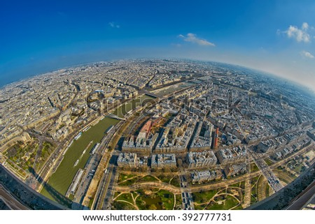 Fish-eye Panorama view from Eiffel Tower in Paris, France - stock photo