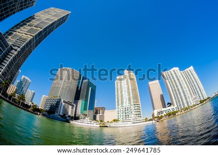 Fish eye view of  downtown Miami along Biscayne Bay. - stock photo