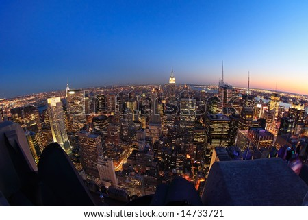 Fish-eye view of Lower Manhattan at dusk, from the top of the Rockefeller Center - New York City, USA