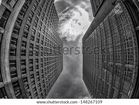 Fish-Eye View of the Berlin Skyline. Germany - stock photo