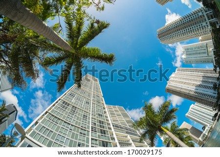 Fish eye view of the Brickell area in downtown Miami along Biscayne Bay. - stock photo